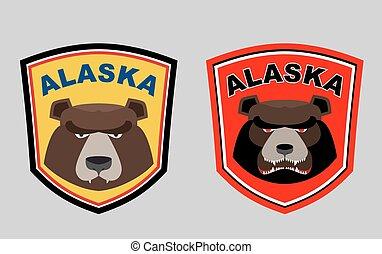 alaska, ou, logos, ensemble, sports, team., bear., vecteur, chasse, illustration.