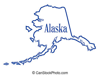 Outline map of the state of Alaska isolated