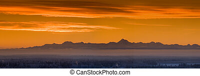 Alaska Range Skyline - Early winter morning with fog...