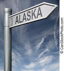 Alaska road sign usa states clipping path