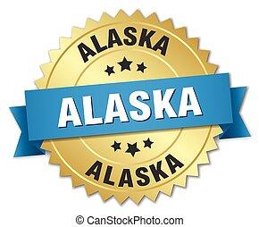 alaska, ronde, gouden, badge, met, blauw lint