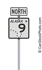 alaska, señal, indique camino, carretera