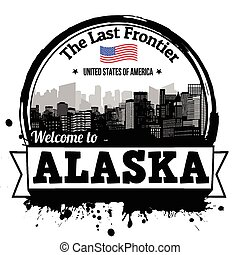 Alaska stamp - Alaska vintage stamp with text The Last...
