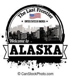 Alaska stamp - Alaska vintage stamp with text The Last...