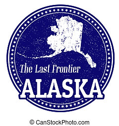 Alaska stamp - Vintage stamp with text The Last Frontier...