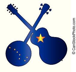 Alaska State Flag Banjo And Guitar Silhouette
