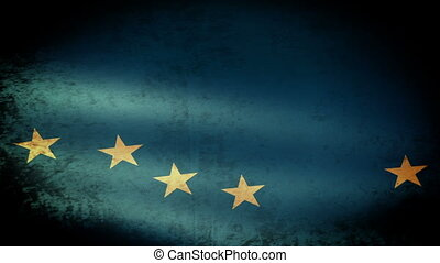 Alaska State Flag Waving, grunge look
