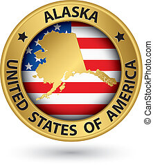 Alaska state gold label with state map, vector illustration