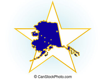 Alaska - The illustration on white background. Coat of Arms...