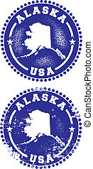 Alaska USA Stamps - A couple of distressed stamps featuring...