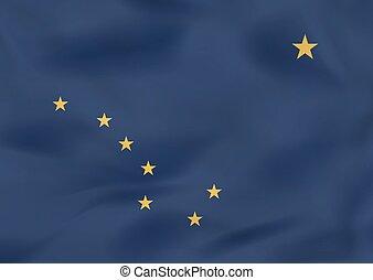 Alaska waving flag. Alaska state flag background texture.