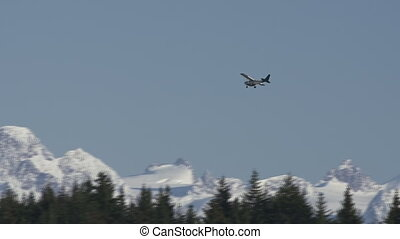 Alaskan Bush Plane on Descent - On approach to land on a...