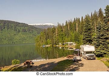 RV park by the lake in Alaska