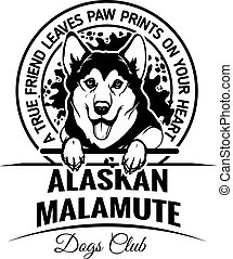 Alaskan Malamute - Dog Set Happy Face Paw Puppy Pup Pet Clip Art K-9 Cop Police Logo SVG PNG Clipart Vector Cricut Cut Cutting - vector illustration for t-shirt, logo and template badges in monochrome style