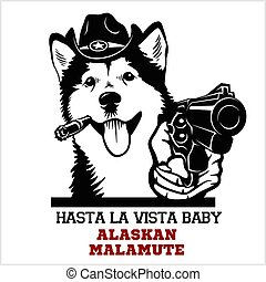 Alaskan Malamute dog with gun - Alaskan Malamute gangster. Head of Funny Alaskan Malamute