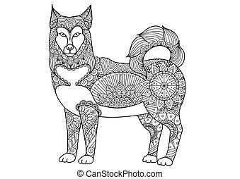Alaskan malamute dog line art design for tattoo, t shirt...