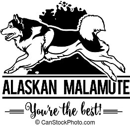 Alaskan Malamute in jump - Dog Set Happy Face Paw Puppy Pup Pet Clip Art K-9 Cop Police Logo SVG PNG Clipart Vector Cricut Cut Cutting - vector illustration for t-shirt, logo and template badges in monochrome style