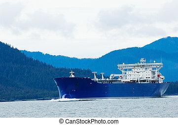 Oil tanker heading to refinery near Valdez, Alaska
