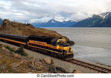 Alaskan train on the Turnagain Arm - Train on the Turnagain...