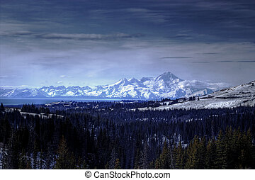 Alaskan Volcanoes and the Cook Inlet - Mount Iliamna as seen...