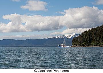 alaskisch, südosten, trawler, fischerei