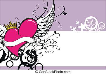 alato, cuore, background9