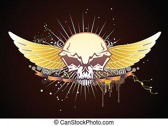 alato, emblema, cranio