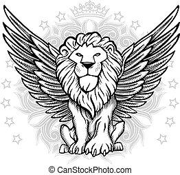alato, fronte, leone, disegno, vista
