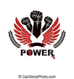 alato, persone, stretto, vettore, arrabbiato, emblem., loro, diritti, pugni, freedom., dimostrazione, combattimento