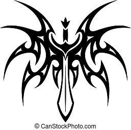 alato, tatuaggio, spada