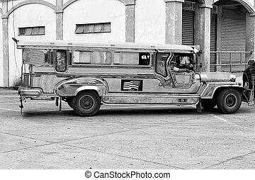 alatt, ázsia, philipphines, a, jellegzetes, autóbusz
