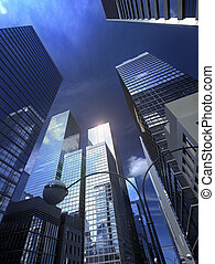 alatt, a, belvárosi, noha, skycrapers