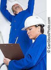 alatt, elektrotechnikusok, szerkesztés, szoba, két