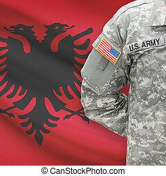 albánia, -, amerikai, katona, lobogó, háttér
