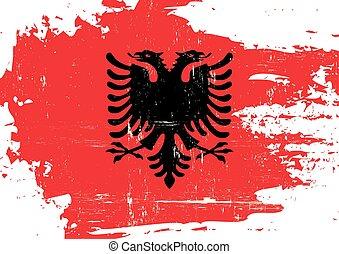 albânia, arranhado, bandeira