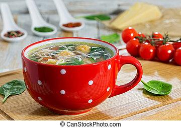 albóndiga, boda, delicioso, sopa, espinaca, zanahorias