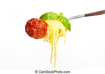 albóndiga, con, espaguetis