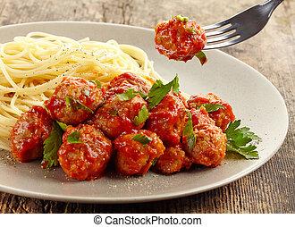 albóndigas, con, salsa de tomate, y, espaguetis