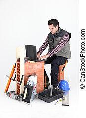 albañil, computador portatil
