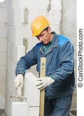 albañil, construcción, albañil, trabajador, nivel