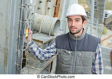 albañilería, trabajador, sitio