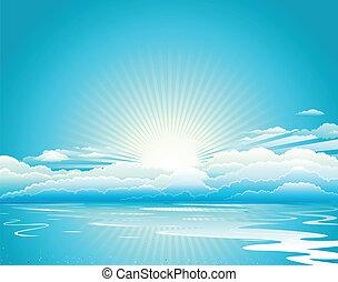 alba, cielo blu, e, nubi