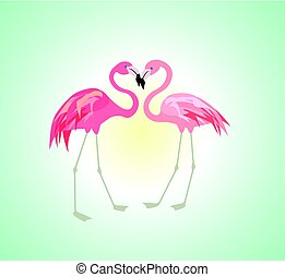 alba, con, paio, di, fenicottero rosa