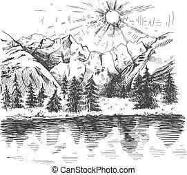 alba, foresta, montagne, lago
