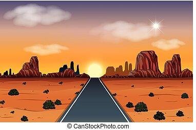 alba, in, deserto, con, strada, scena