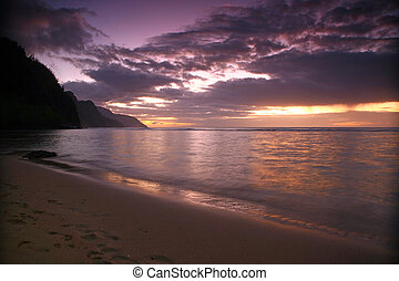 alba, in, kauai, hawai, con, audace, colori