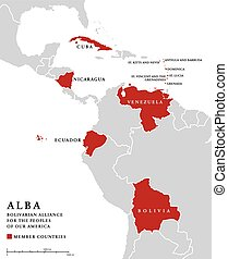 ALBA, member countries info map