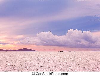 alba, orizzonte, visibile, mare, isole