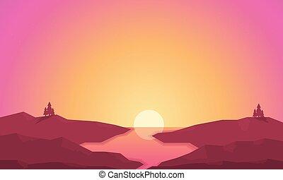 alba, silhouette, fiume, colline, paesaggio