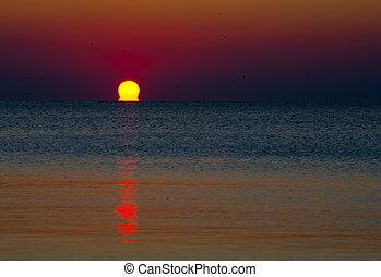 alba, sopra, acqua